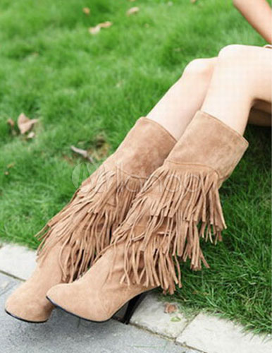 Round Toe Stiletto Heel Fringed Micro Suede Upper Knee Length Boots