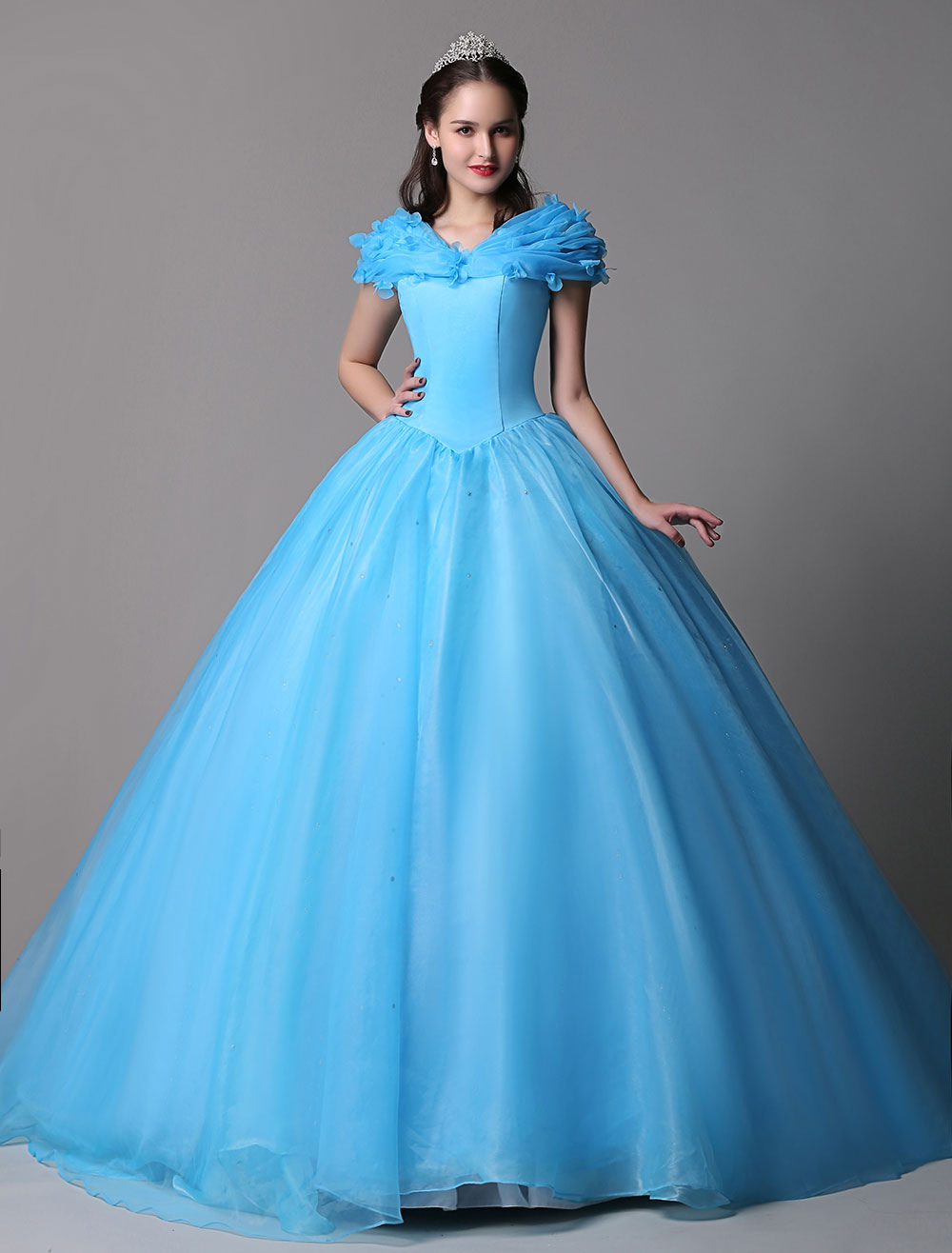 Cyan Ball Gown Dress Organza Cinderella Off The Shoulder Quinceanera Dress With Sweep Train
