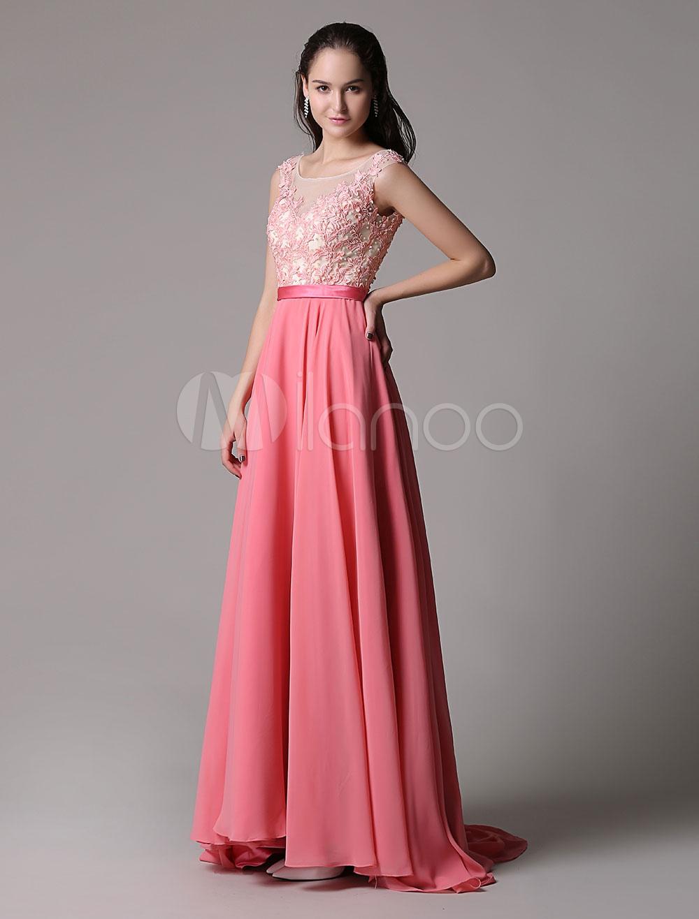 Vestido de noche Rosado naranja sin mangas Escote transparente con ...