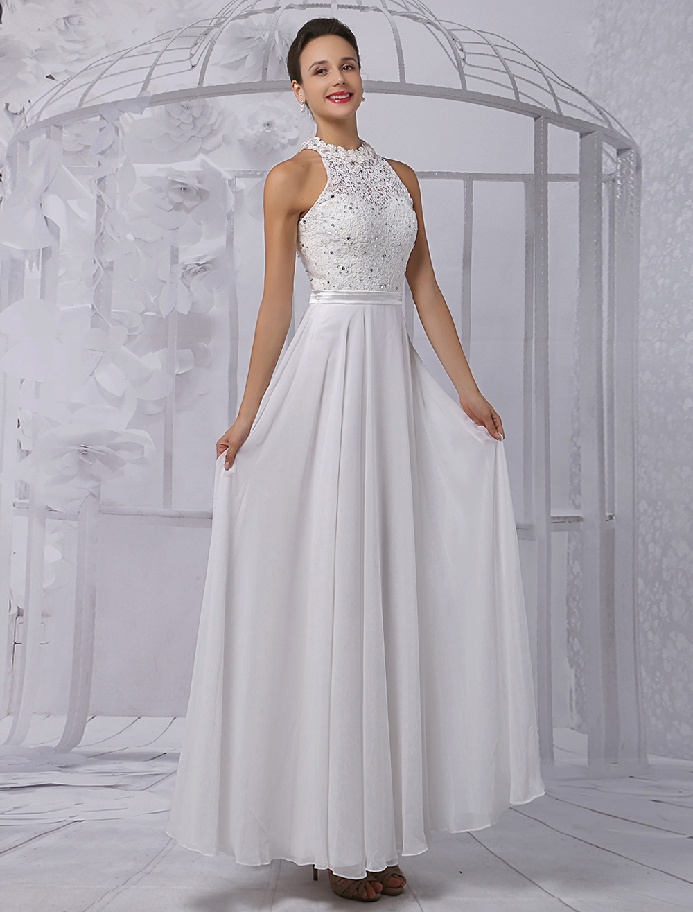 22bbccdc68 A-line/Princess Scoop Neck Floor-Length Chiffon Lace Wedding Dress With Beading  Sequins - Milanoo.com