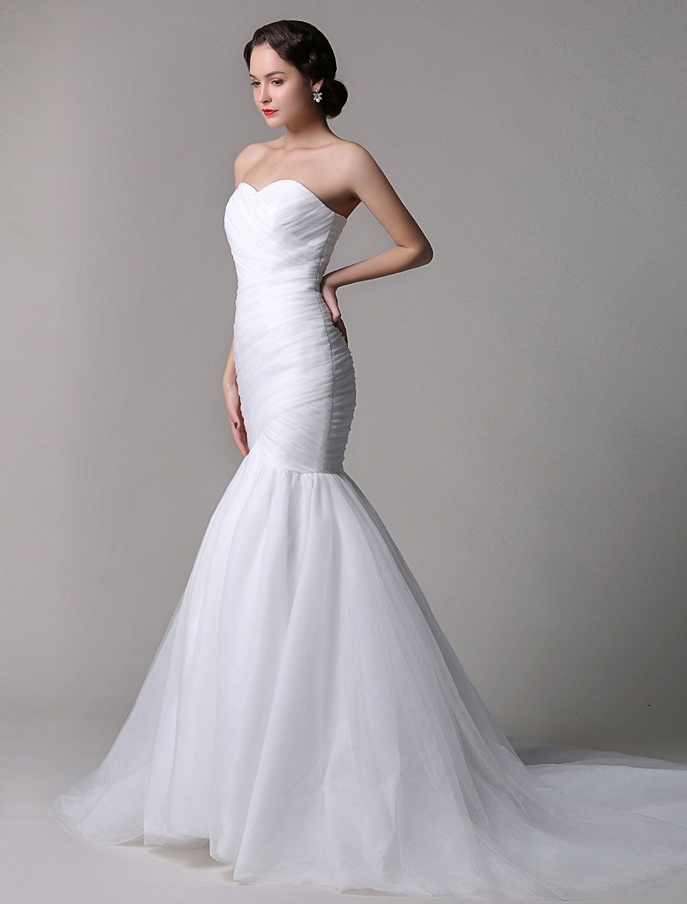 Fabulous Simple Tulle Strapless Sweatheart Mermaid Trumpet Wedding Dress With Court Train