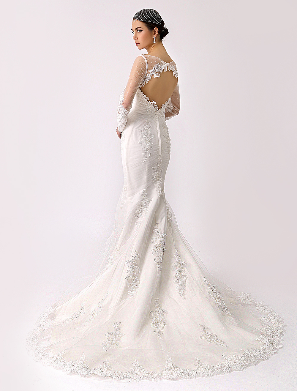 Illusion Neck Trumpet Lace Bridal Gown with Open Back Milanoo