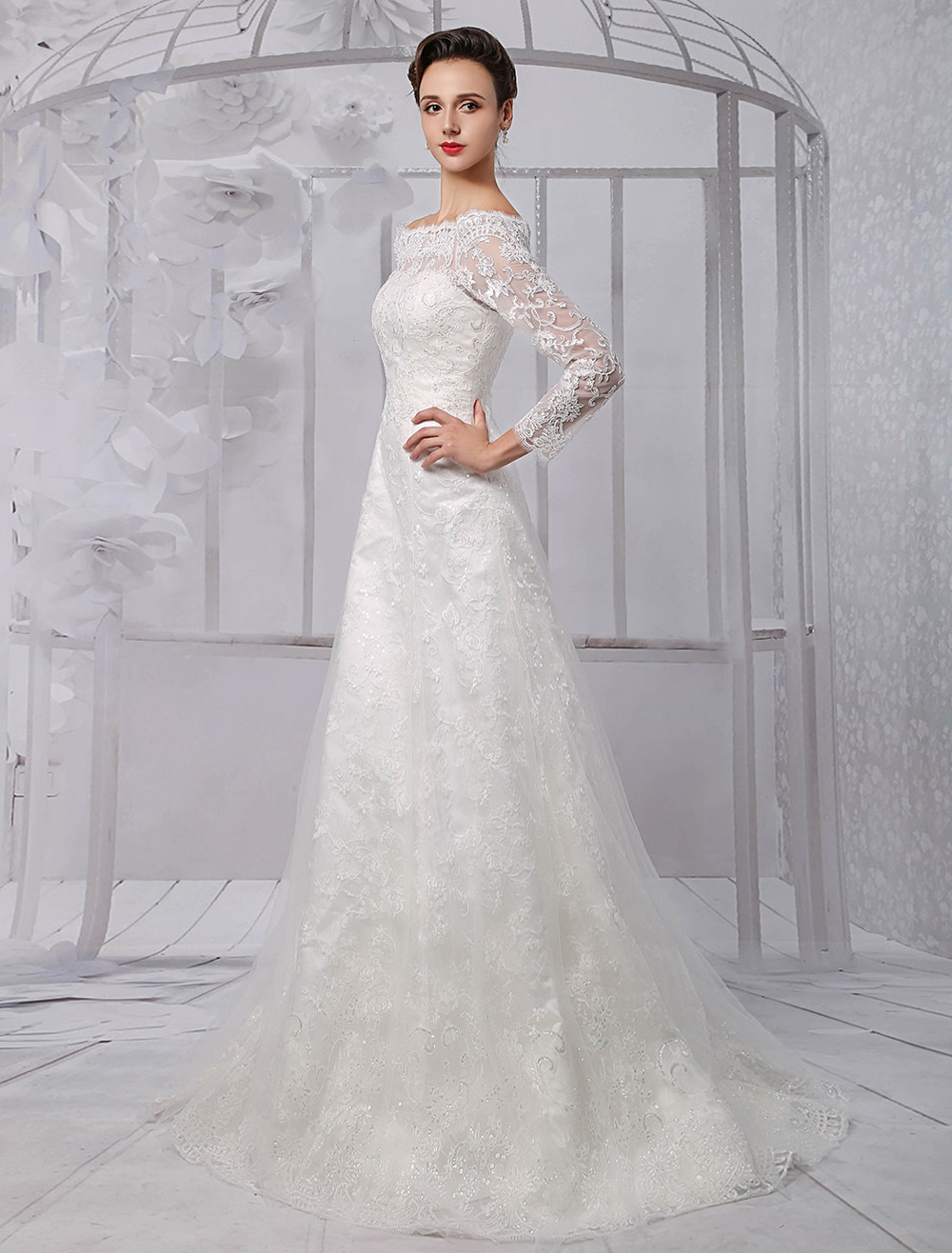 Lace Long Sleeve Off The Shoulder A-line Wedding Gown Milanoo