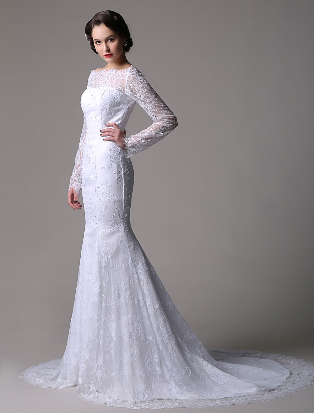 Lace Mermaid/Trumpet  Long Sleeves Off-the-shoulder Wedding Dress