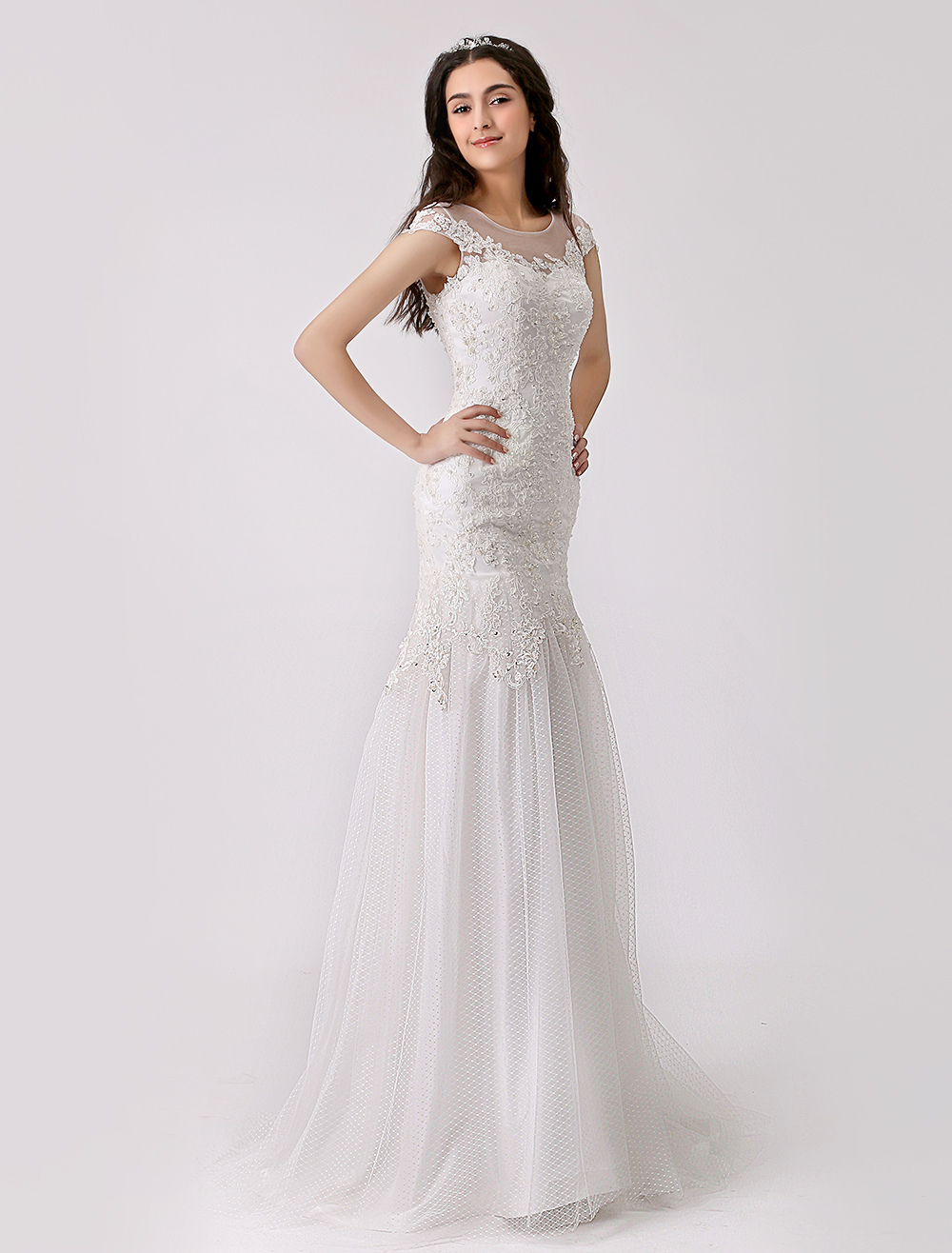 Lace and Tulle Trumpet Wedding Gown with Illusion Neckline Milanoo ...