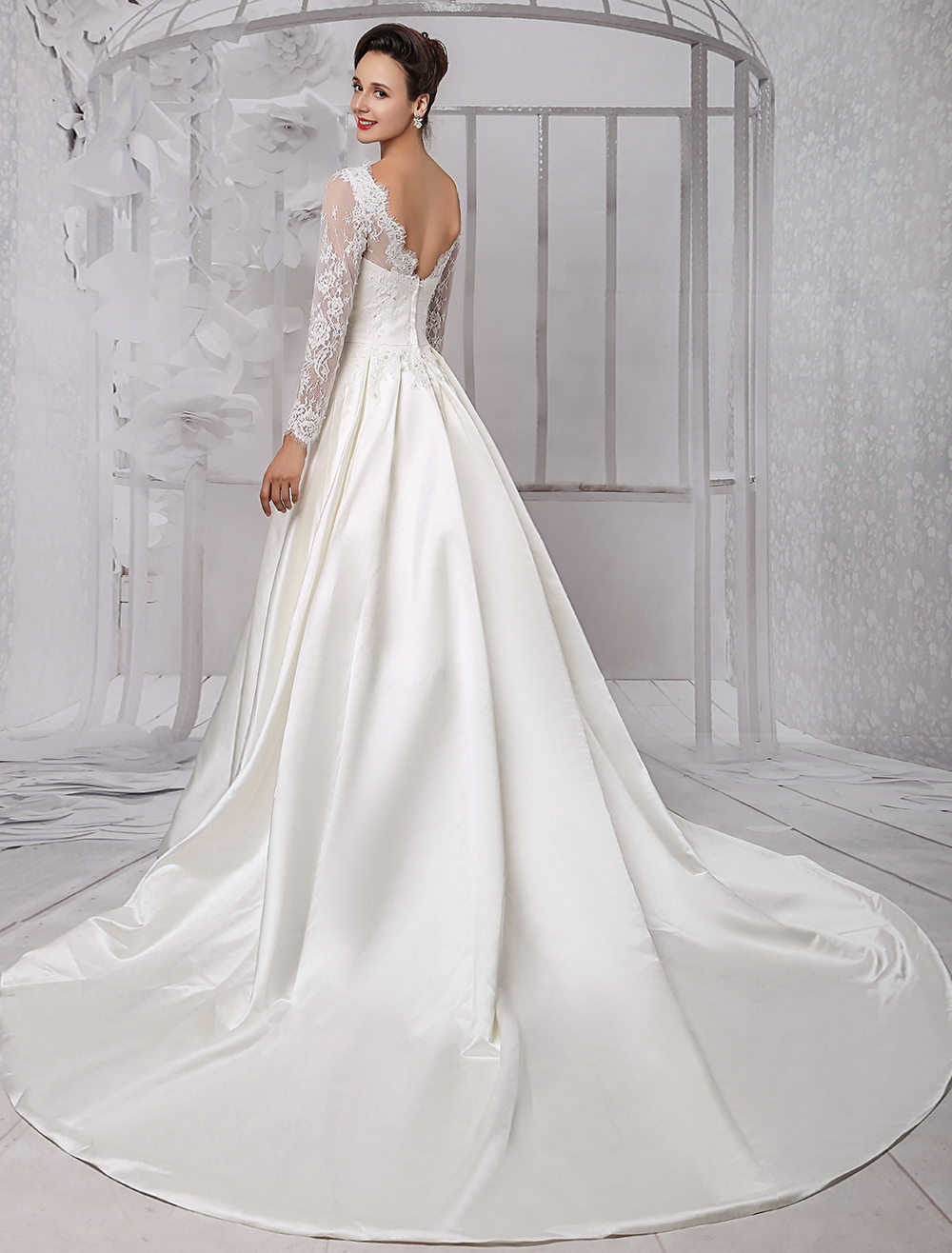 Long Sleeve Lace Wedding Dress Bridal Gown With Cathedral Train Milanoo
