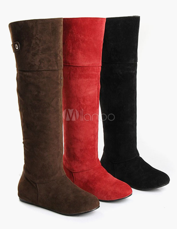 Round Toe Micro Suede Upper Falt Knee Length Boots