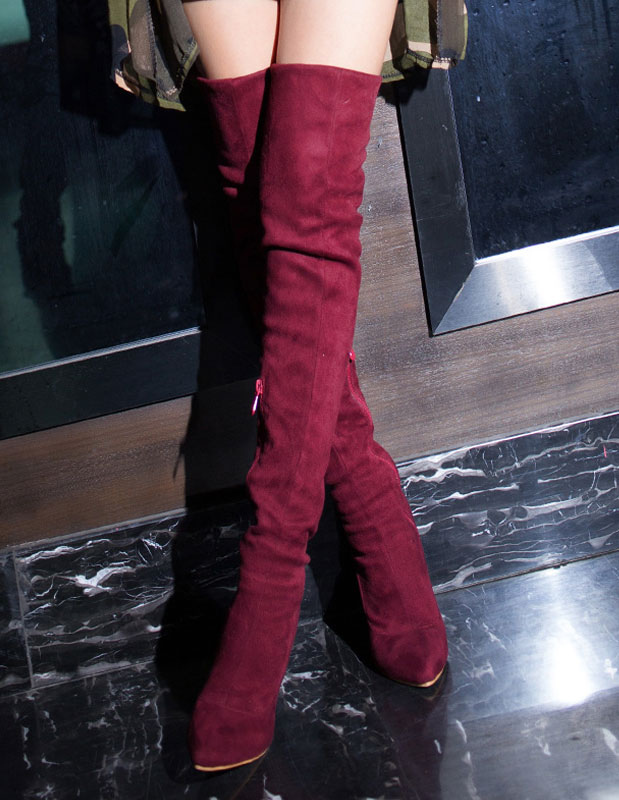 Thigh High Boots Sexy Pointed Toe Handmade Suede Upper Over Knee Boots