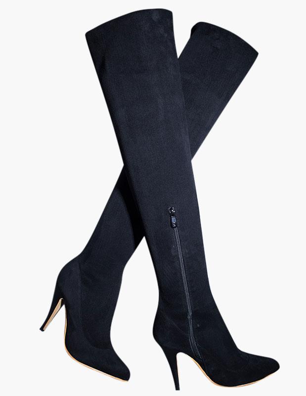 hot sale online f2c46 ee578 Sexy Wildleder Overknee Stiefel Damen Winterstiefel mit Absatz