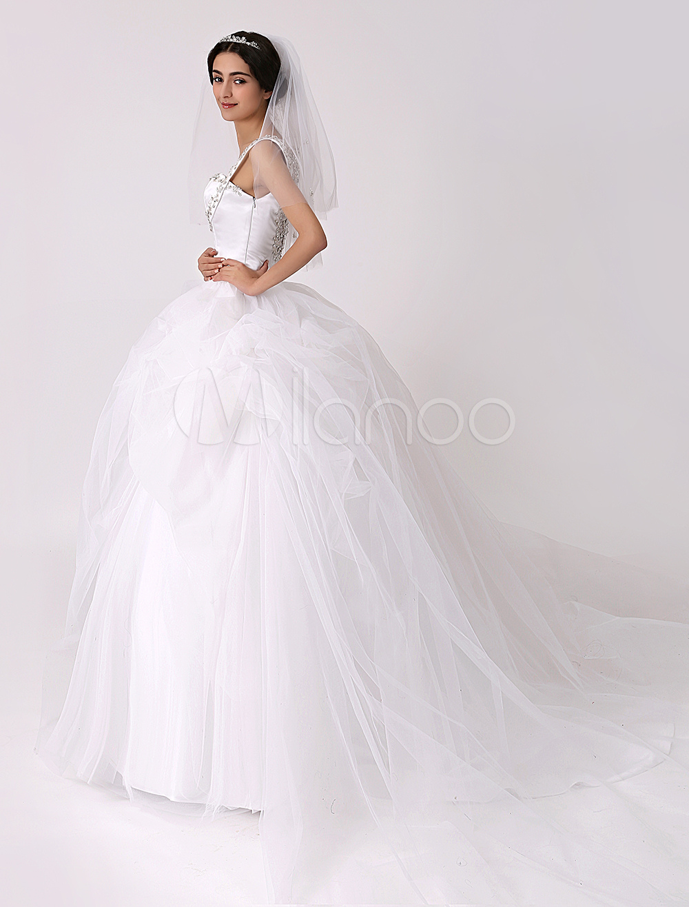 Sheer back wedding dress with pick up skirt milanoo for Pick up skirt wedding dresses