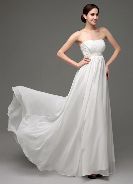 Strapless Chiffon A-Line Empire Waist Wedding Gown With Pearl Belt ...