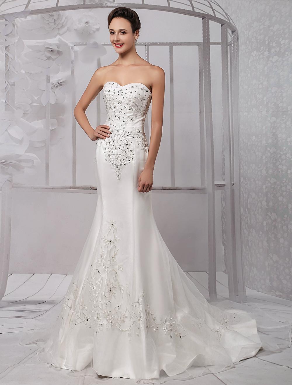 Trumpet/Mermaid Sweetheart Chapel Train Satin Organza Wedding Dress With Embroidered Beading