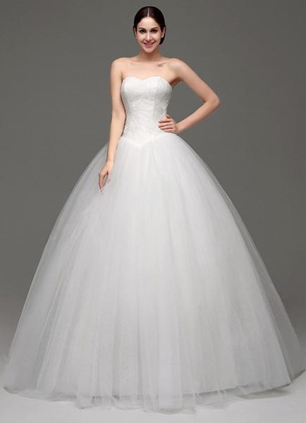 venta al por mayor moda atractiva rebajas outlet Vestido de novia de tul con escote palabra de honor de encaje hasta el suelo