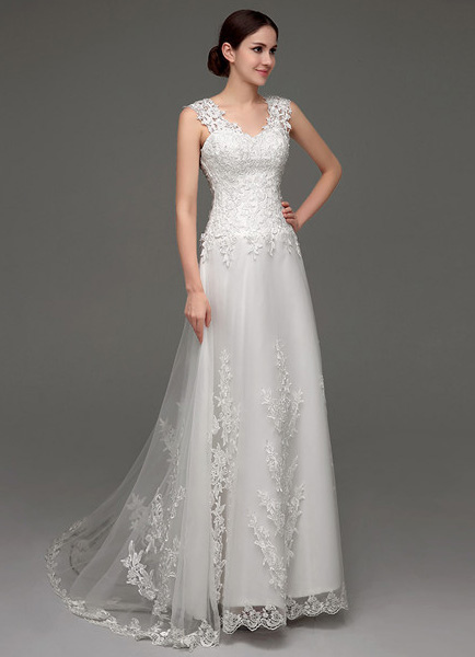 Tulle V-neck Illusion Back Wedding Dress With Lace Bodice