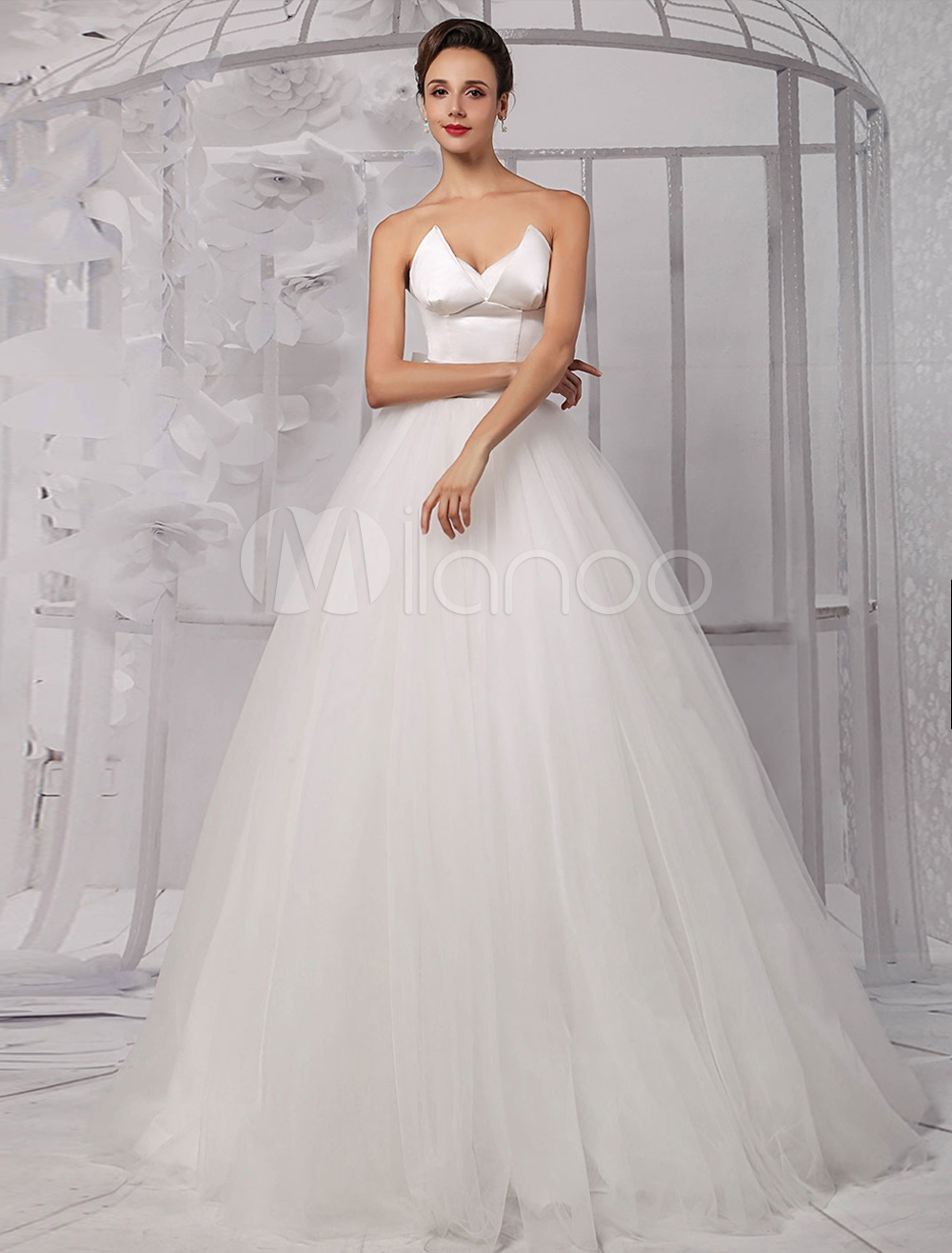 Two Pieces Crop Top Ball Gown Wedding Dress With Tulle Skirt Milanoo