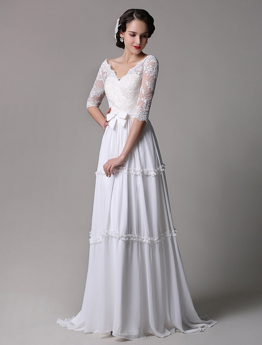 Milanoo / Boho Wedding Dress Vintage A-Line Lace Chiffon Half Sleeves V-neck Backless Boho Wedding Dress