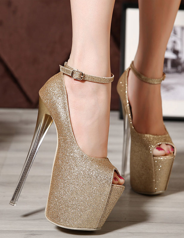 Women's Glitter Pointed Toe PU Leather Sexy Sky High Heels ...