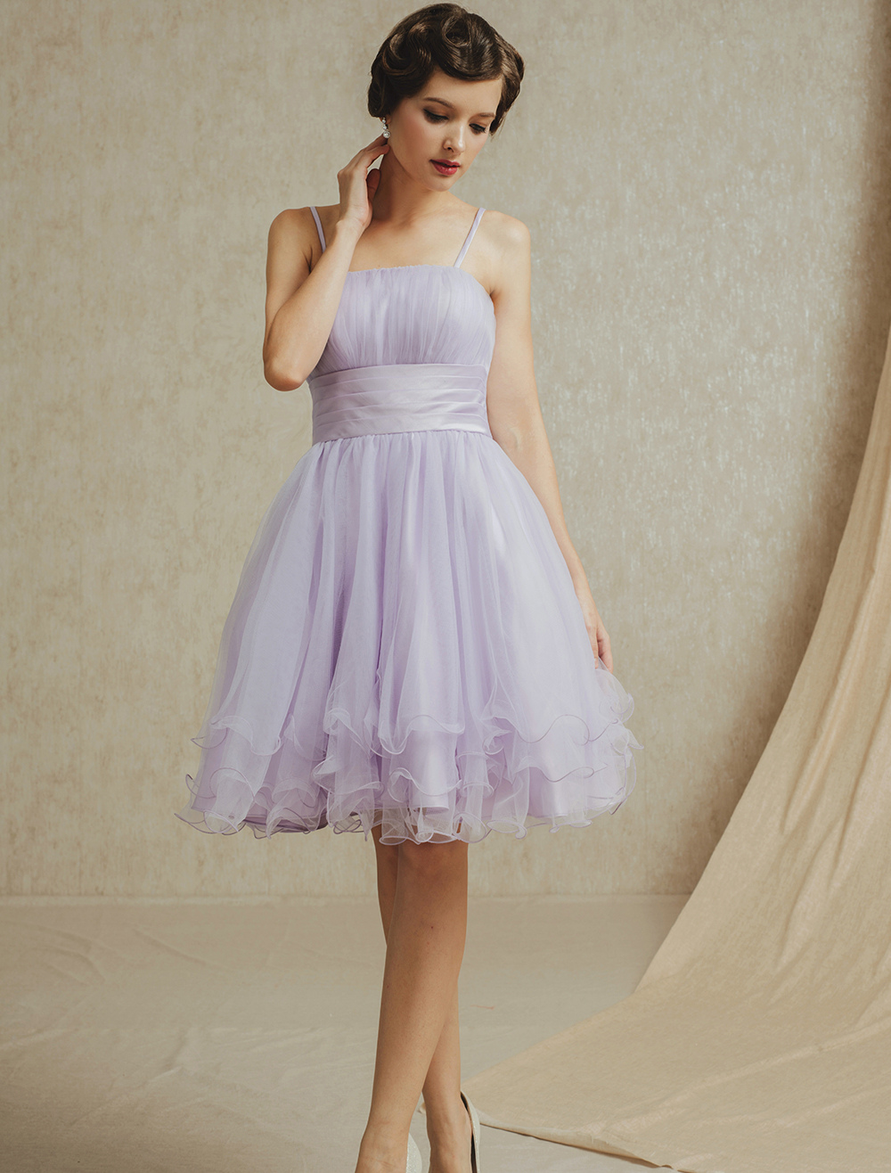 Short Bridesmaid Dress with Removable Straps & Sash