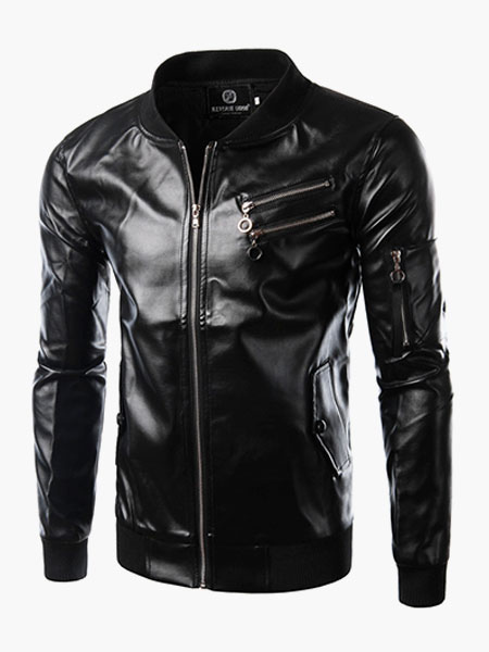 Fashion Cool Leather Jacket for Men - Milanoo.com
