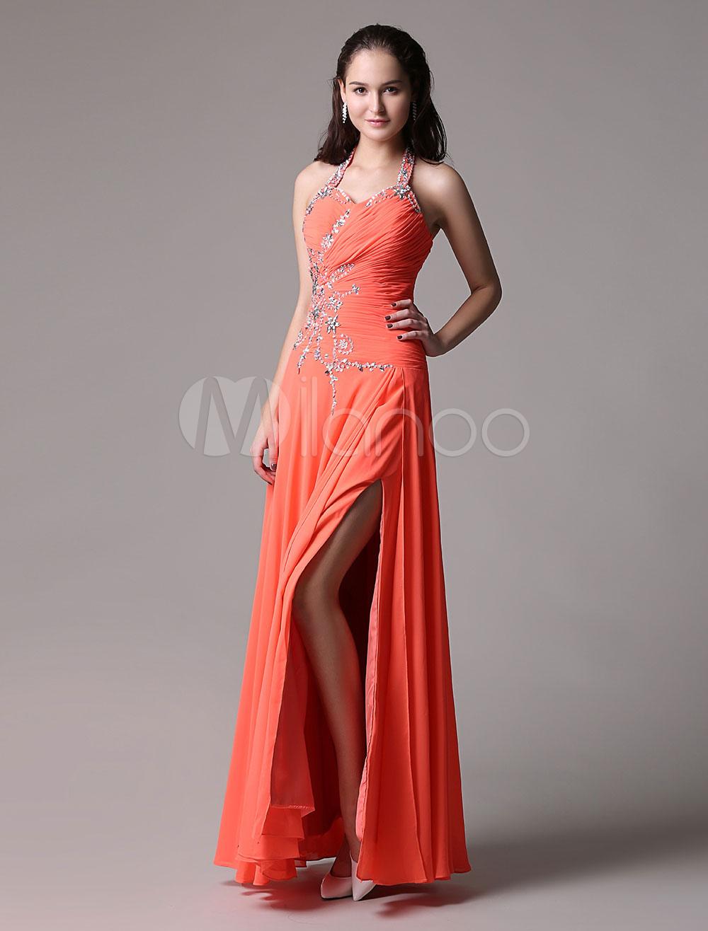 Neon Orange Prom Dress