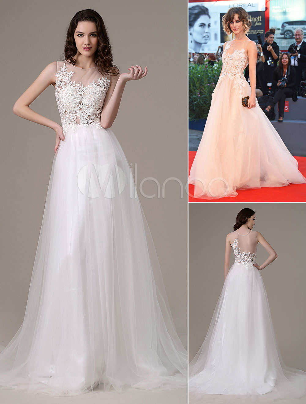White Prom Dresses 2018 Long Ivory Princess Evening Dress Lace Applique Tulle Illusion Red Carpet Dress