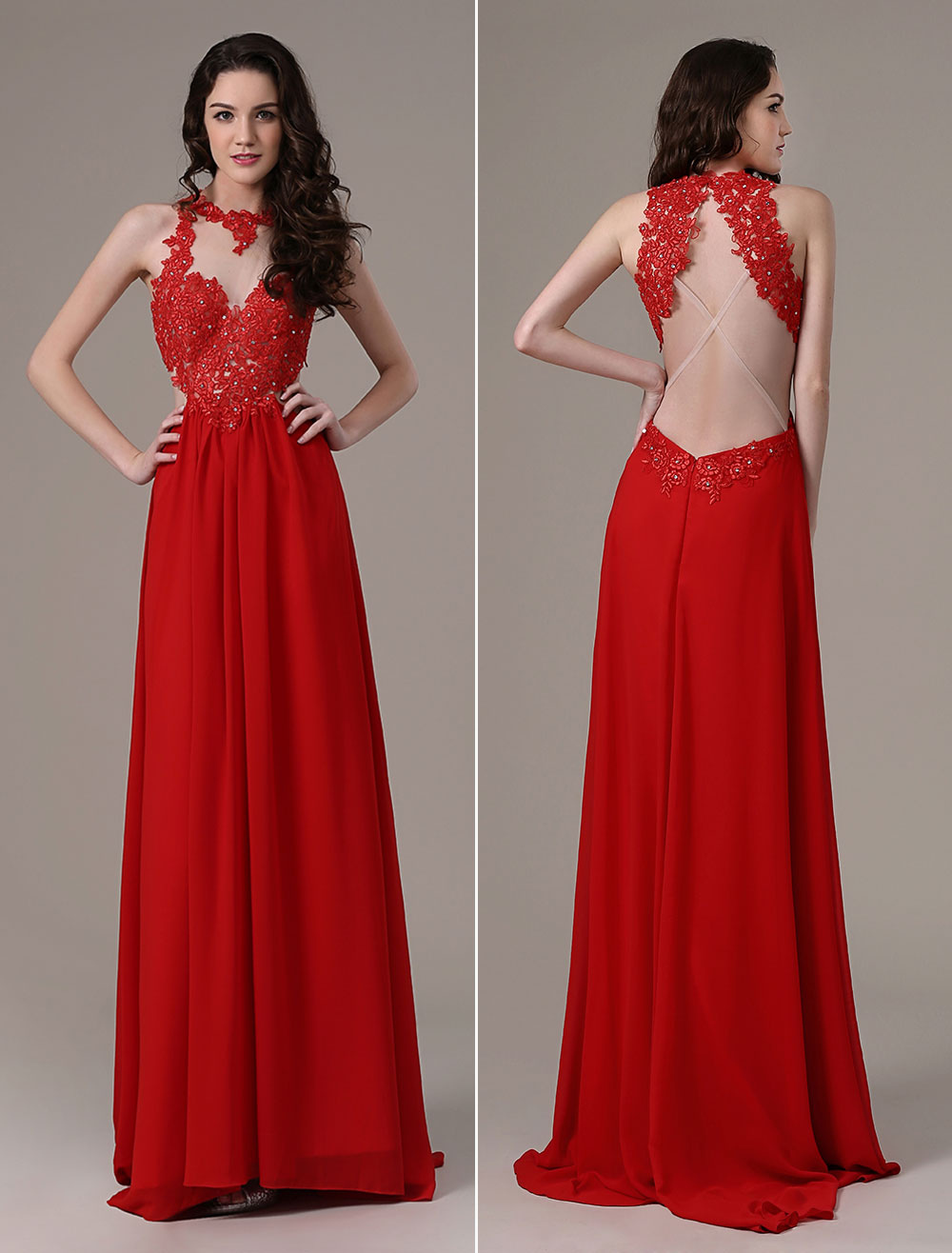 Buy Red Prom Dresses 2018 Long Backless Evening Dress Cross Back Illusion Lace Chiffon Party Dress With Train for $133.19 in Milanoo store