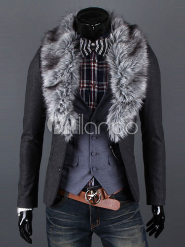 Buy Grey Men Coat Winter Coat Faux Fur Turndown Collar Long Sleeve Short Coat for $54.14 in Milanoo store