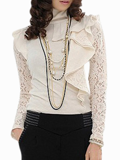 High Collar Lace Top With Ruffles