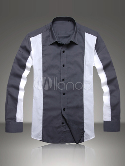 Buy Gray 97% Cotton 3% Spandex Long Sleeves Mens Shirt for $16.50 in Milanoo store