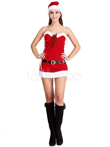0f49ed287 Sexy Christmas Costume Red Strappy Christmas Lingerie Mini Dress Christmas  Santa Lingrie -No.1 ...
