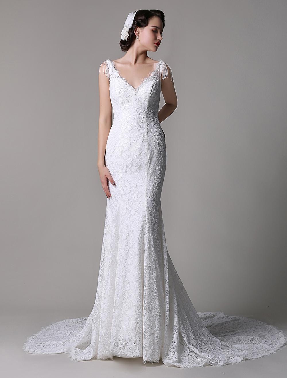 Vintage elegant lace v neck mermaid bridal gown with for Wedding dress trim beading