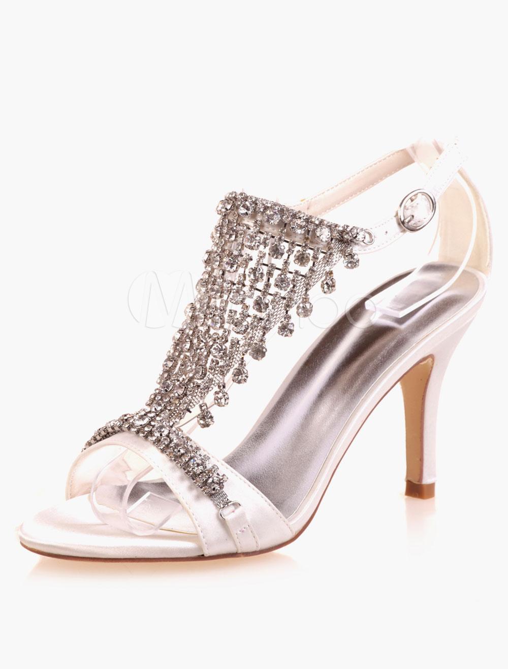 Beautiful Rhinestones Open Toe Satin Evening And Bridal Sandals