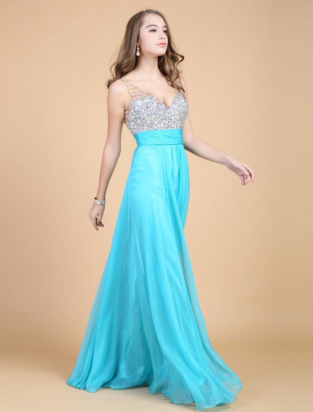 Backless Beaded Prom Dress