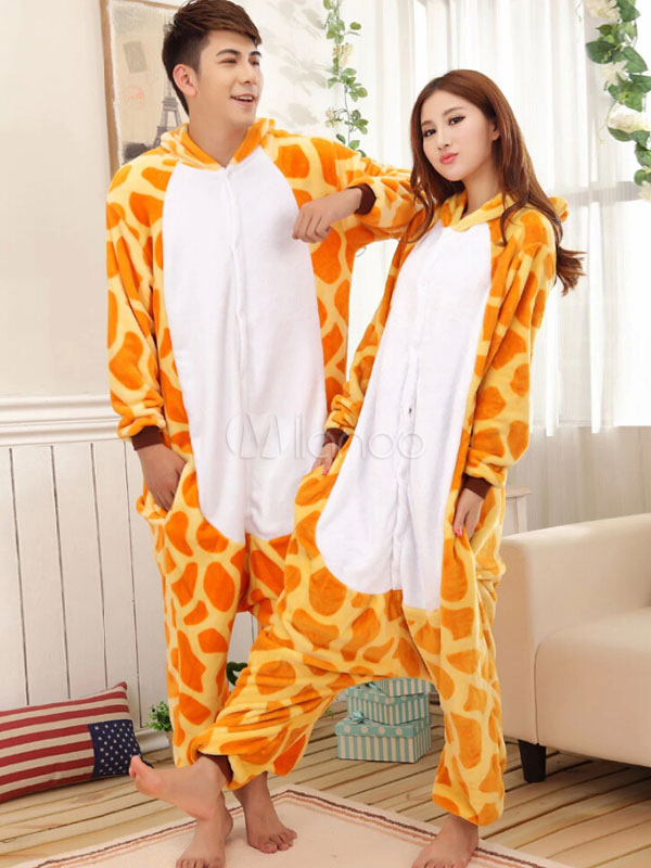 8e31f2b484 Kigurumi Pajamas Giraffe Onesie For Adult Flannel Animal Couple Costume  Halloween-No.1 ...