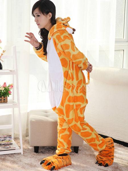 ec653dd3df ... Kigurumi Pajamas Giraffe Onesie For Adult Flannel Animal Couple Costume  Halloween-No.2 ...