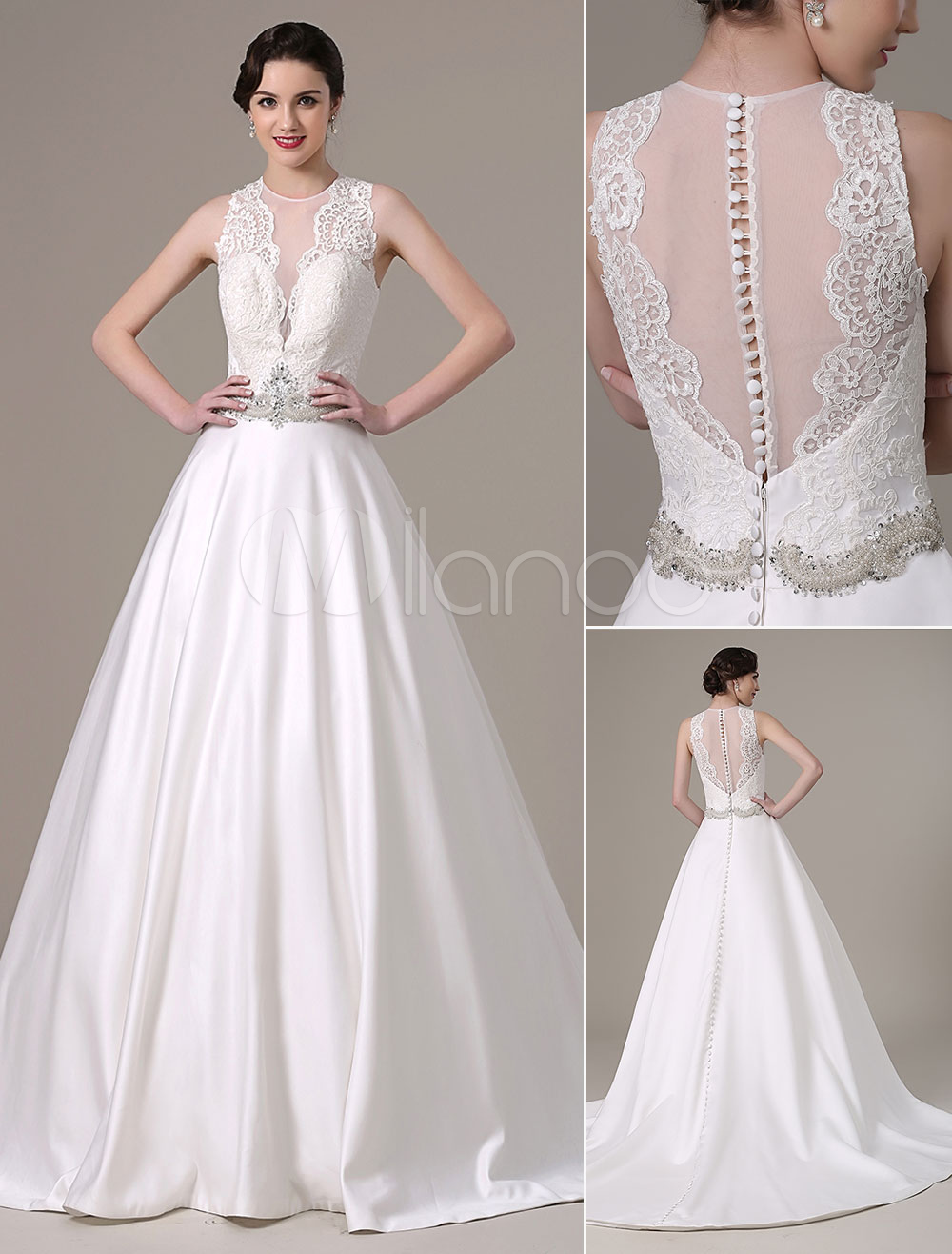2018 Satin And Lace Ball Gown Wedding Dress Pleated Sheer Bodice And ...