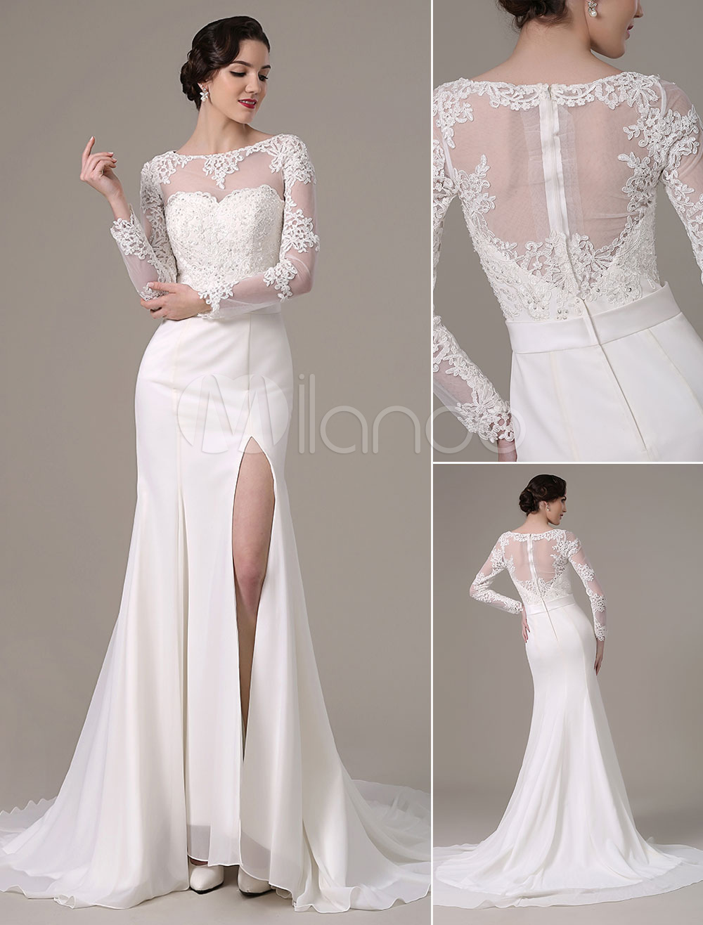 2018 Vintage Lace Wedding Dress Long Sleeves Bateau Neck Sheer Back High Slit(Veil not included) Milanoo