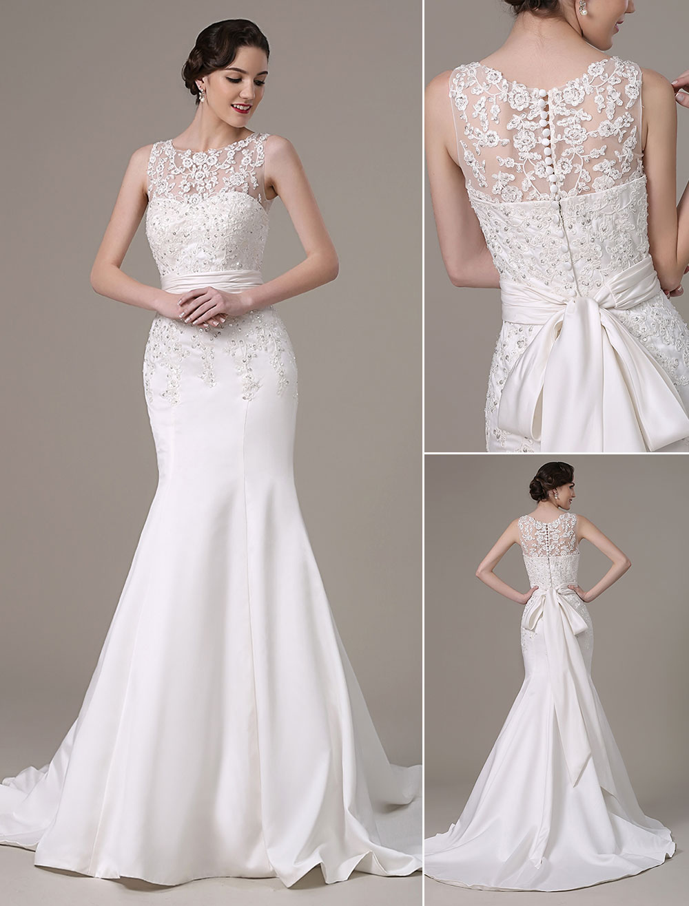Mermaid Wedding Dresses With Elegant Detachable Lace Jacket Sweep Train(Veil not included) Milanoo