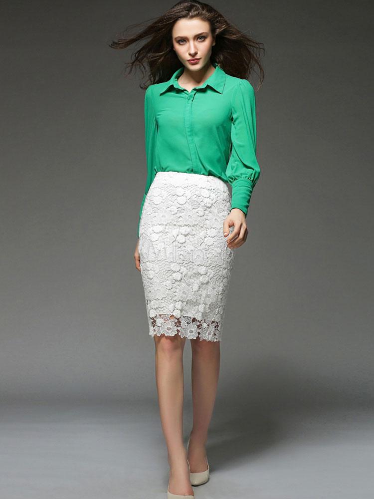 212fcc7e98 Mangas compridas simples elegante blusa de seda - Milanoo.com