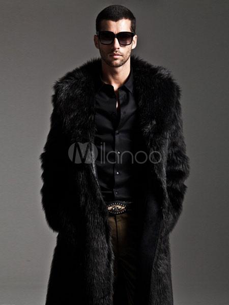 8e921ec4c7302 ... Men Faux Fur Coats Long Sleeve Oversized Collar Winter Coats-No.4 ...