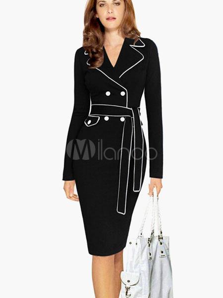 Notch Collar Buttons Cotton Blend Belted Bodycon Dress