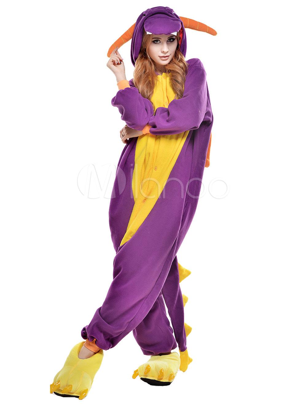 Kigurumi Pajama Dinosaur Onesie For Adult fleece Flannel Purple ...