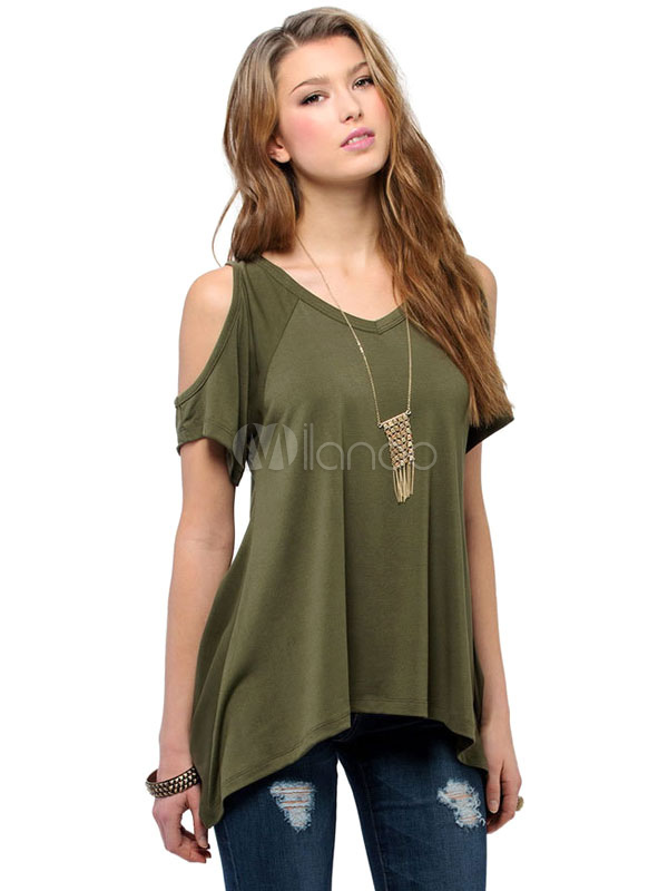 Cold Shoulder Top V Neck Casual T-shirt Cheap clothes, free shipping worldwide