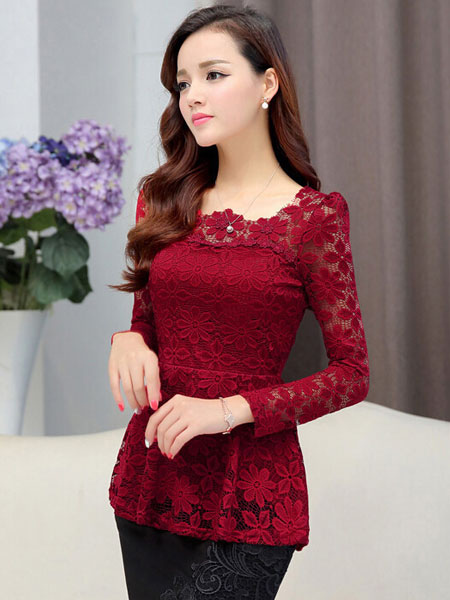 Lace Blouse Long Sleeve Peplum Pintuck Top Cheap clothes, free shipping worldwide