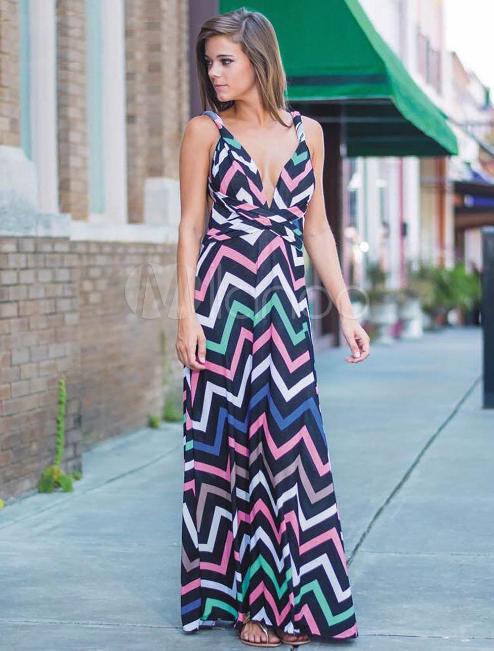 Multi Zigzag Pattern Lpng Split Dress