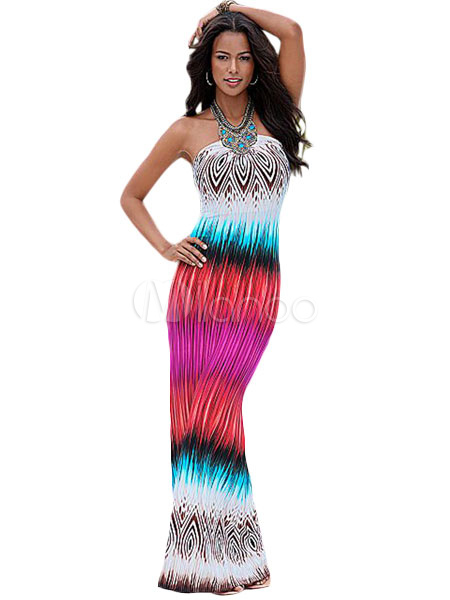 Bohemian Long Dress In Cotton Blend And Tribal Print