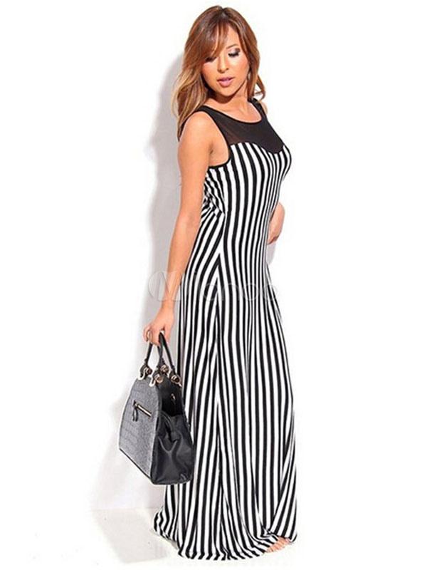 245e6b331 ... Vertical Mono largo vestido malla insertar sin mangas de Gasa a rayas-No.3  ...