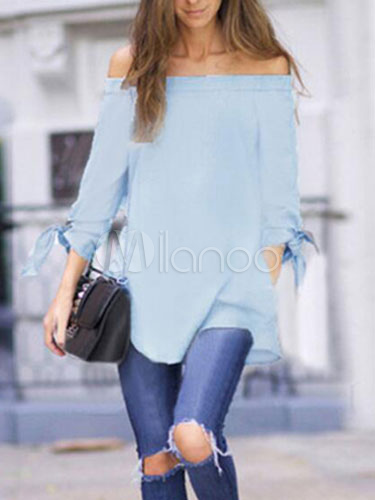 Bare Shoulder Long Sleeve Smock Top Cheap clothes, free shipping worldwide