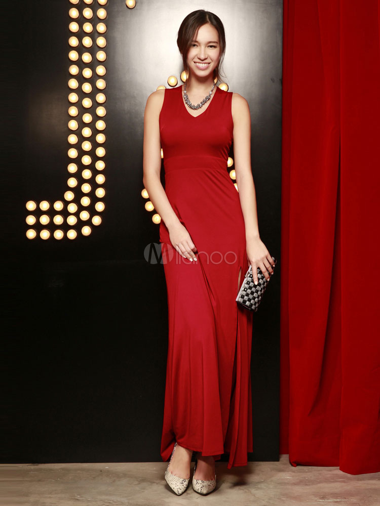 robe rouge longue unicolore en polyester convenable col v. Black Bedroom Furniture Sets. Home Design Ideas
