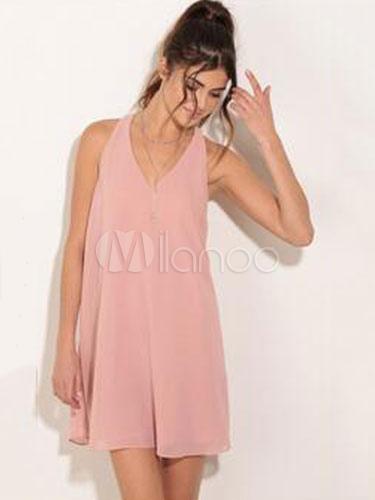 Sleeveless V-neck Backless Summer Dress Cheap clothes, free shipping worldwide